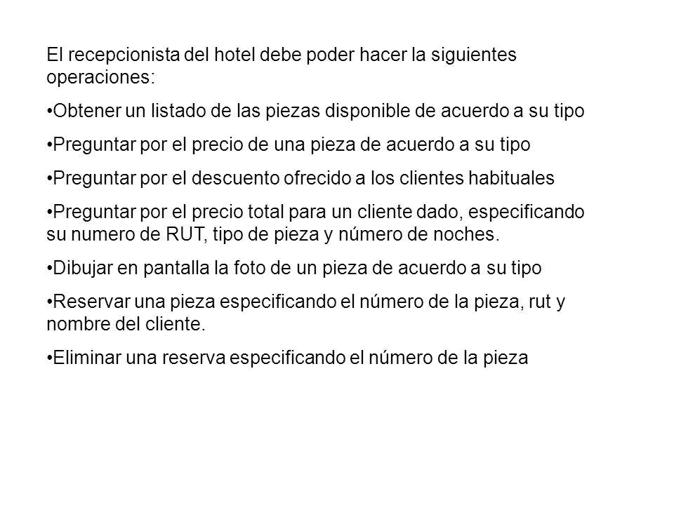 El recepcionista del hotel debe poder hacer la siguientes operaciones: Obtener un listado de las piezas disponible de acuerdo a su tipo Preguntar por