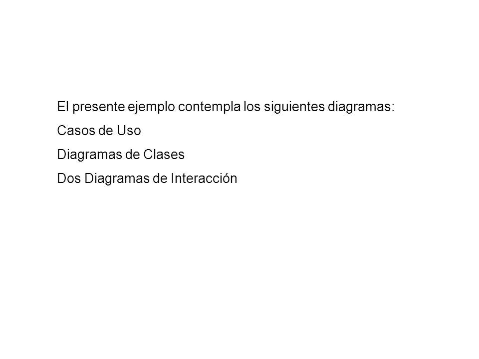 El presente ejemplo contempla los siguientes diagramas: Casos de Uso Diagramas de Clases Dos Diagramas de Interacción