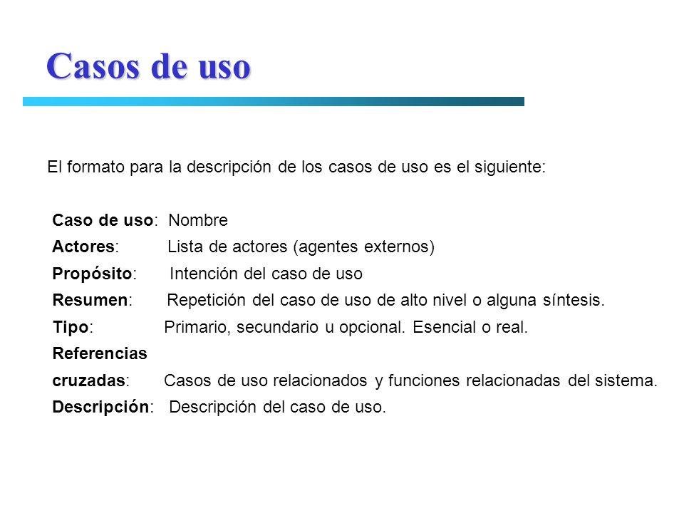 El formato para la descripción de los casos de uso es el siguiente: Caso de uso: Nombre Actores: Lista de actores (agentes externos) Propósito: Intenc