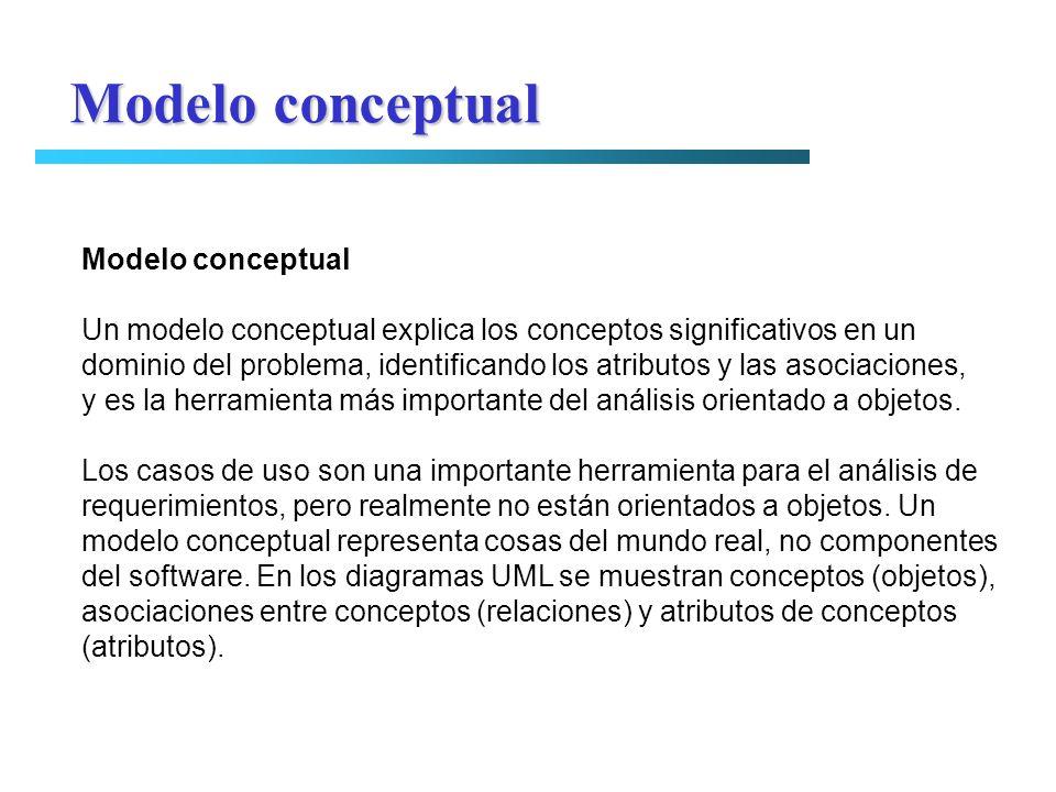 Modelo conceptual Un modelo conceptual explica los conceptos significativos en un dominio del problema, identificando los atributos y las asociaciones