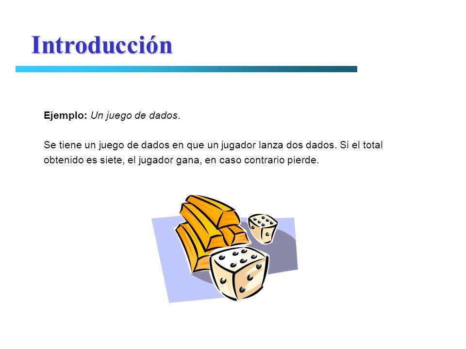 Introducción Ejemplo: Un juego de dados. Se tiene un juego de dados en que un jugador lanza dos dados. Si el total obtenido es siete, el jugador gana,
