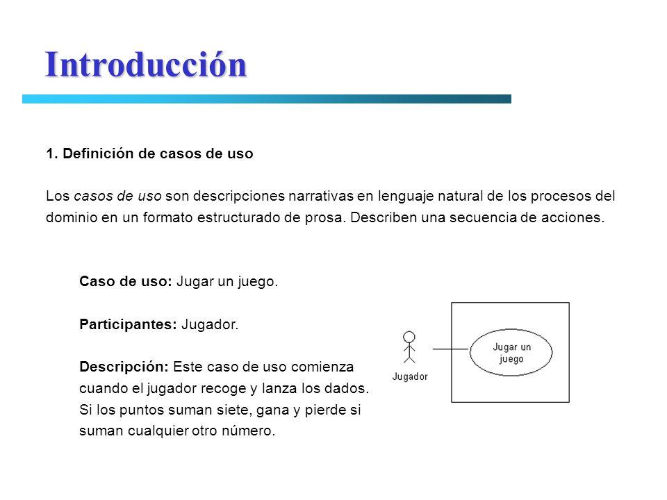 Introducción 1. Definición de casos de uso Los casos de uso son descripciones narrativas en lenguaje natural de los procesos del dominio en un formato
