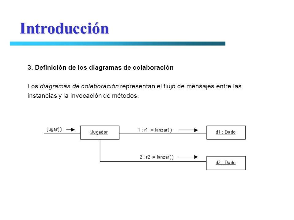Introducción 3. Definición de los diagramas de colaboración Los diagramas de colaboración representan el flujo de mensajes entre las instancias y la i