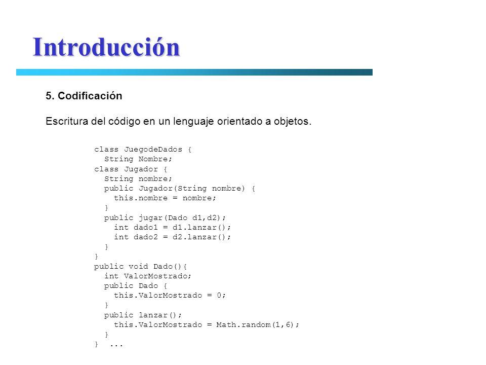 Introducción 5. Codificación Escritura del código en un lenguaje orientado a objetos. class JuegodeDados { String Nombre; class Jugador { String nombr