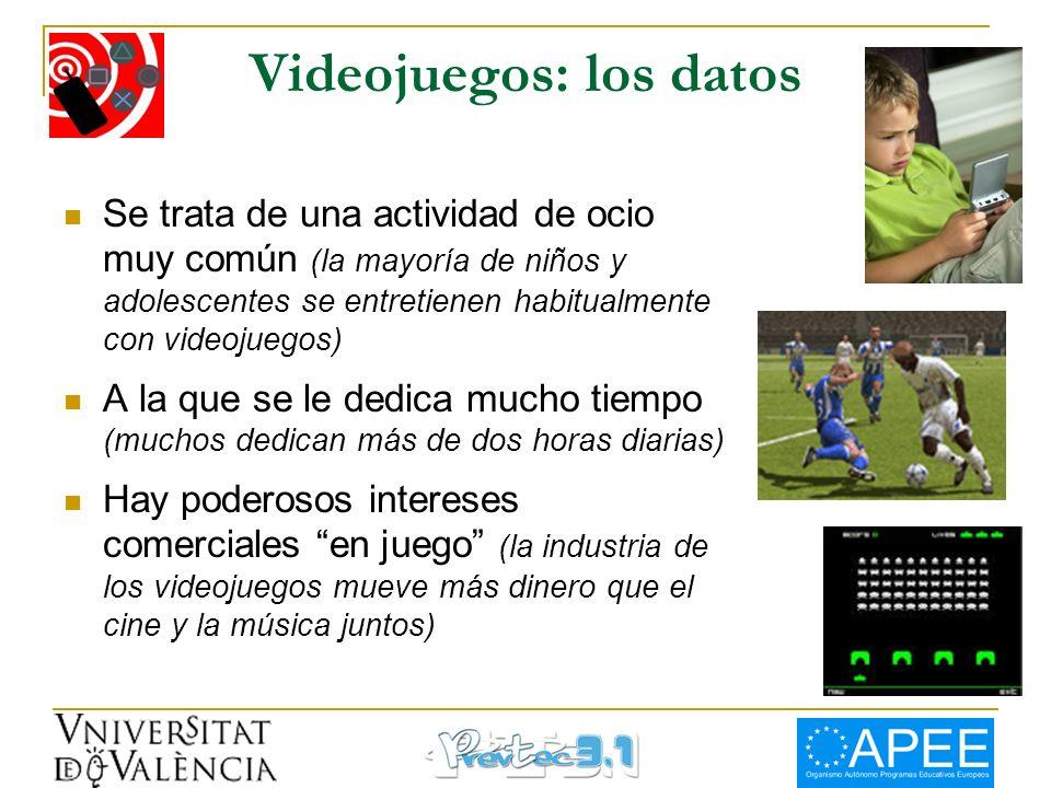 Videojuegos: los datos Se trata de una actividad de ocio muy común (la mayoría de niños y adolescentes se entretienen habitualmente con videojuegos) A