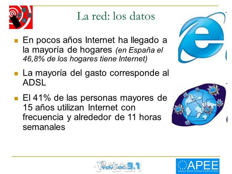 La red: los datos En pocos años Internet ha llegado a la mayoría de hogares (en España el 46,8% de los hogares tiene Internet) La mayoría del gasto co