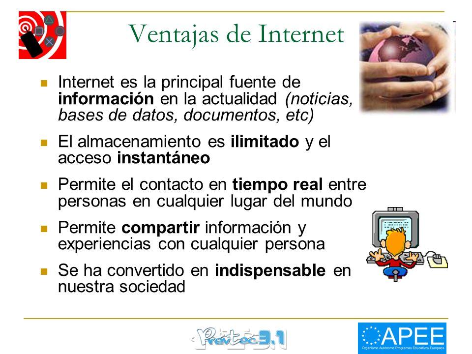 Ventajas de Internet Internet es la principal fuente de información en la actualidad (noticias, bases de datos, documentos, etc) El almacenamiento es