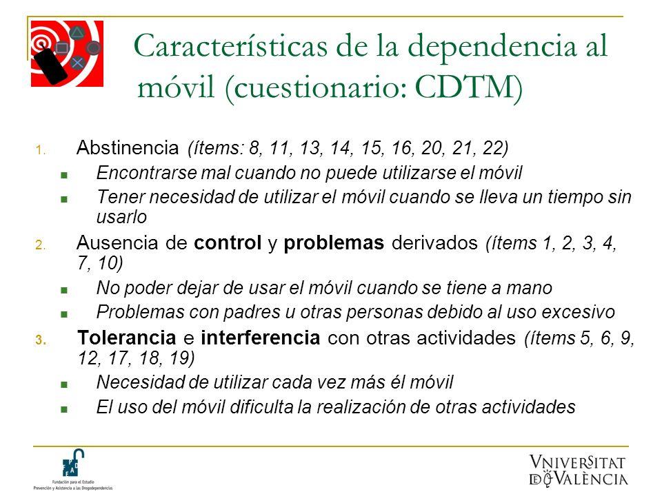 Características de la dependencia al móvil (cuestionario: CDTM) 1. Abstinencia (ítems: 8, 11, 13, 14, 15, 16, 20, 21, 22) Encontrarse mal cuando no pu