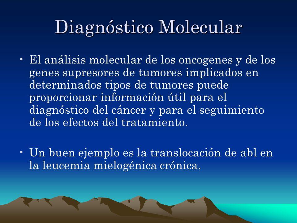 Diagnóstico Molecular El análisis molecular de los oncogenes y de los genes supresores de tumores implicados en determinados tipos de tumores puede pr