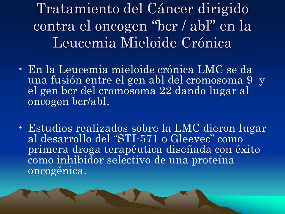 Tratamiento del Cáncer dirigido contra el oncogen bcr / abl en la Leucemia Mieloide Crónica En la Leucemia mieloide crónica LMC se da una fusión entre