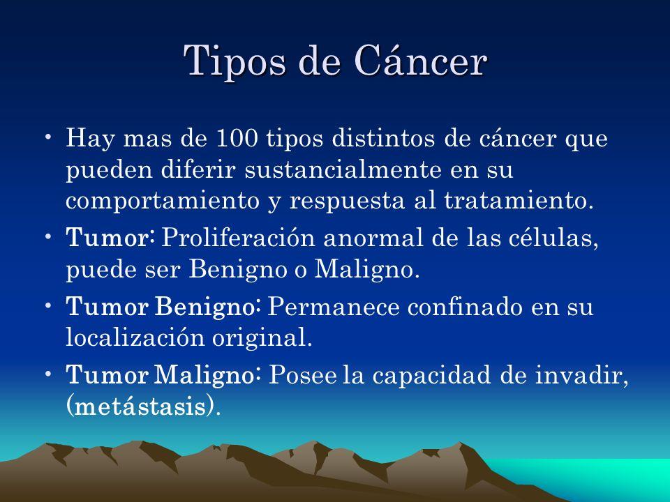 Tipos de Cáncer Hay mas de 100 tipos distintos de cáncer que pueden diferir sustancialmente en su comportamiento y respuesta al tratamiento. Tumor: Pr