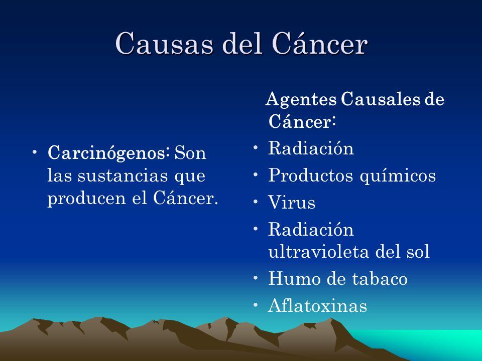 Causas del Cáncer Carcinógenos: Son las sustancias que producen el Cáncer. Agentes Causales de Cáncer: Radiación Productos químicos Virus Radiación ul