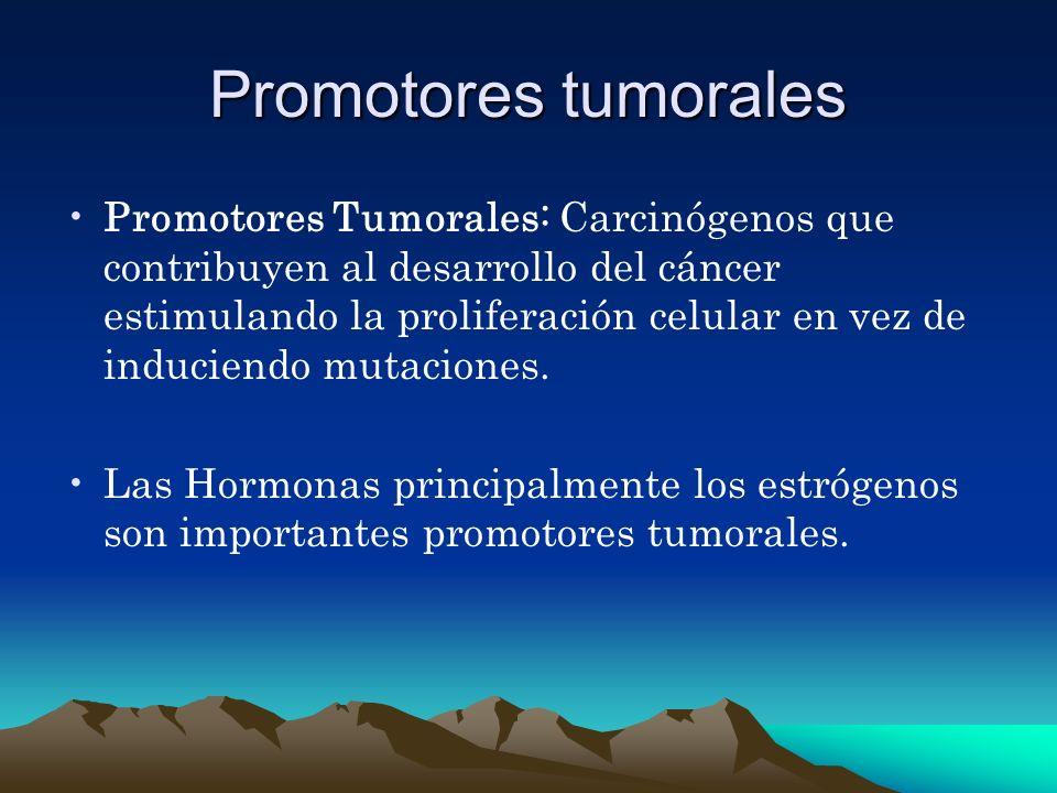 Promotores tumorales Promotores Tumorales: Carcinógenos que contribuyen al desarrollo del cáncer estimulando la proliferación celular en vez de induci