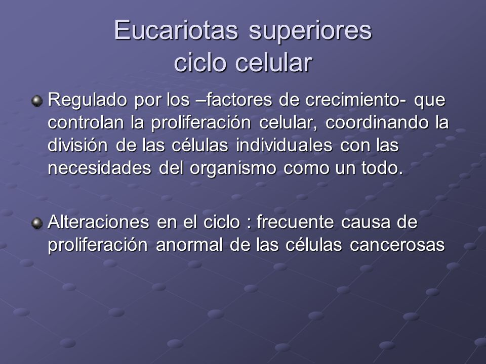 Ciclo celular eucariota Consiste en 4 procesos coordinados Crecimiento celular Replicación del ADN Distribución de los cromosomas duplicados a las células hijas División celular