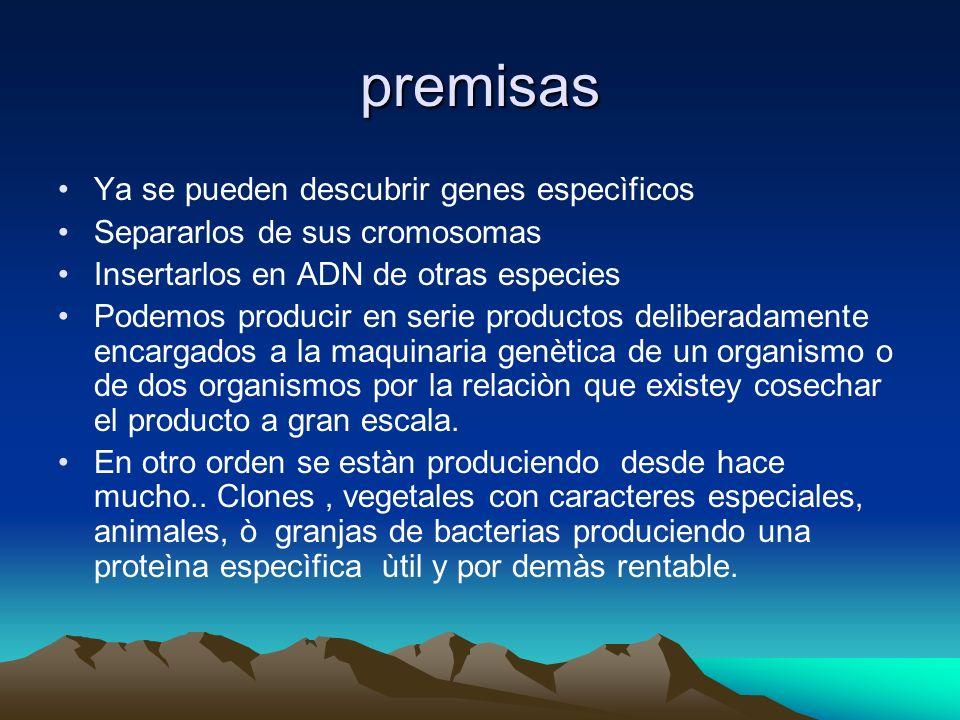 premisas Ya se pueden descubrir genes especìficos Separarlos de sus cromosomas Insertarlos en ADN de otras especies Podemos producir en serie producto