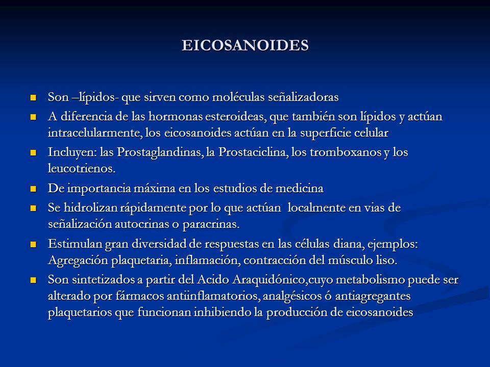 EICOSANOIDES Son –lípidos- que sirven como moléculas señalizadoras Son –lípidos- que sirven como moléculas señalizadoras A diferencia de las hormonas