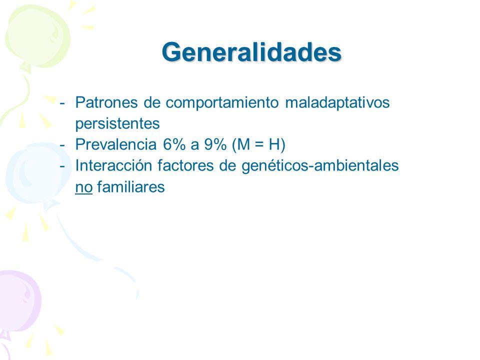 -Patrones de comportamiento maladaptativos persistentes -Prevalencia 6% a 9% (M = H) -Interacción factores de genéticos-ambientales no familiares Gene