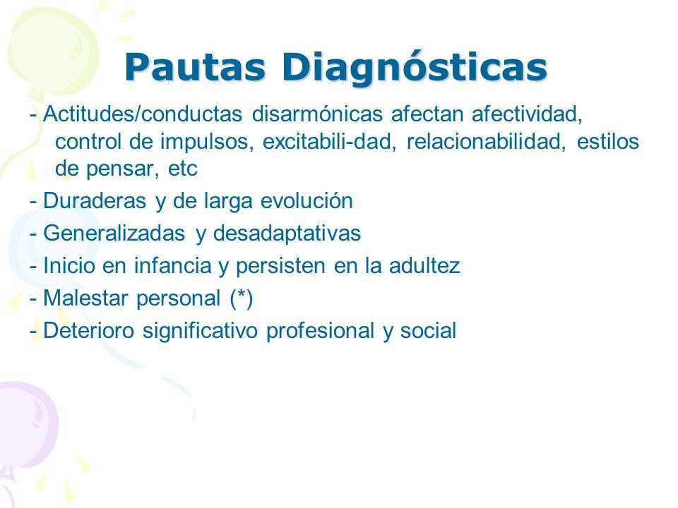 Pautas Diagnósticas - Actitudes/conductas disarmónicas afectan afectividad, control de impulsos, excitabili-dad, relacionabilidad, estilos de pensar,