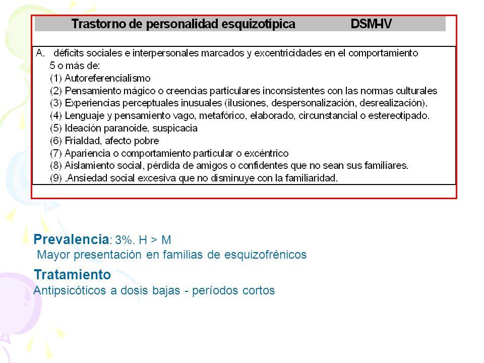 Prevalencia : 3%. H > M Mayor presentación en familias de esquizofrénicos Tratamiento Antipsicóticos a dosis bajas - períodos cortos