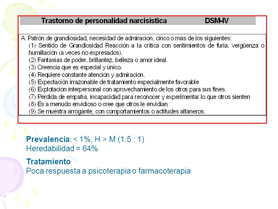 Prevalencia : M (1.5 : 1) Heredabilidad = 64% Tratamiento Poca respuesta a psicoterapia o farmacoterapia
