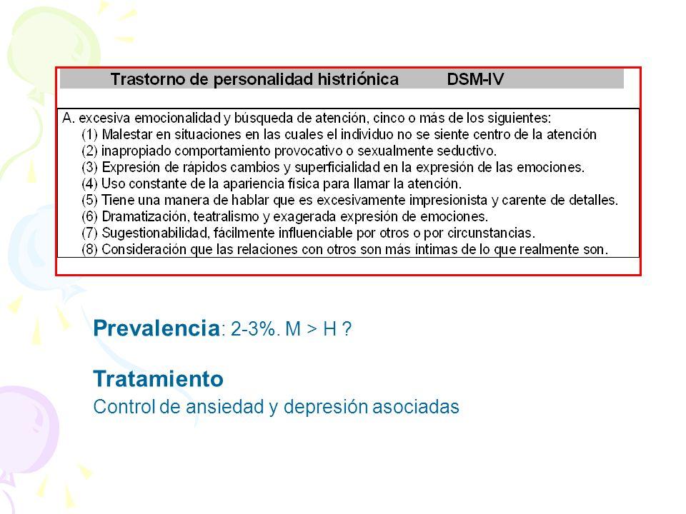 Prevalencia : 2-3%. M > H ? Tratamiento Control de ansiedad y depresión asociadas