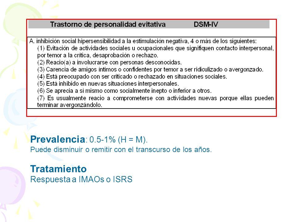 Prevalencia : 0.5-1% (H = M). Puede disminuir o remitir con el transcurso de los años. Tratamiento Respuesta a IMAOs o ISRS