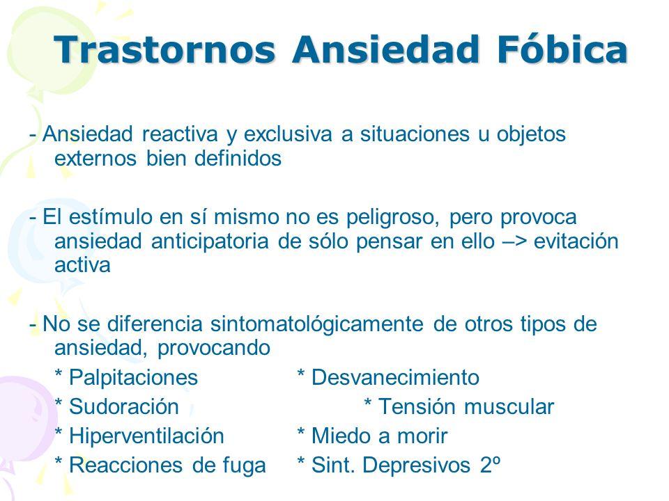 Trastornos Ansiedad Fóbica - Ansiedad reactiva y exclusiva a situaciones u objetos externos bien definidos - El estímulo en sí mismo no es peligroso,