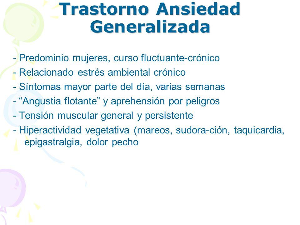 Trastorno Ansiedad Generalizada - Predominio mujeres, curso fluctuante-crónico - Relacionado estrés ambiental crónico - Síntomas mayor parte del día,