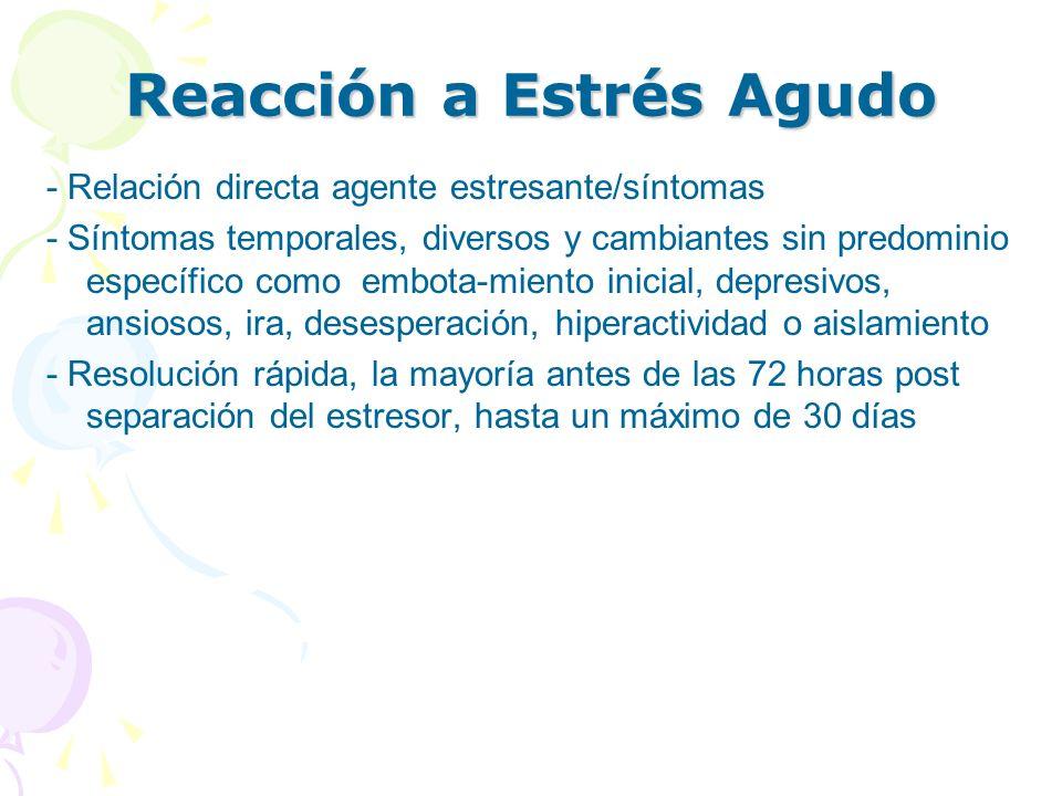 Reacción a Estrés Agudo - Relación directa agente estresante/síntomas - Síntomas temporales, diversos y cambiantes sin predominio específico como embo