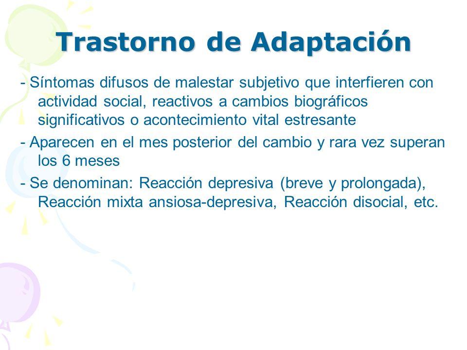 Trastorno de Adaptación - Síntomas difusos de malestar subjetivo que interfieren con actividad social, reactivos a cambios biográficos significativos