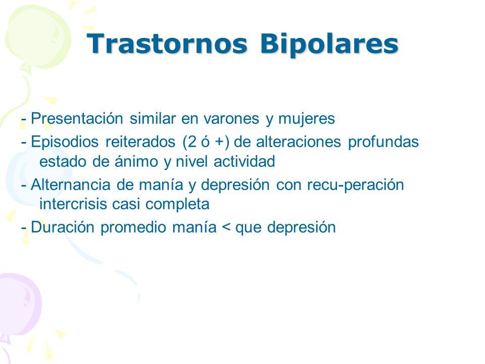 Trastornos Bipolares - Presentación similar en varones y mujeres - Episodios reiterados (2 ó +) de alteraciones profundas estado de ánimo y nivel acti