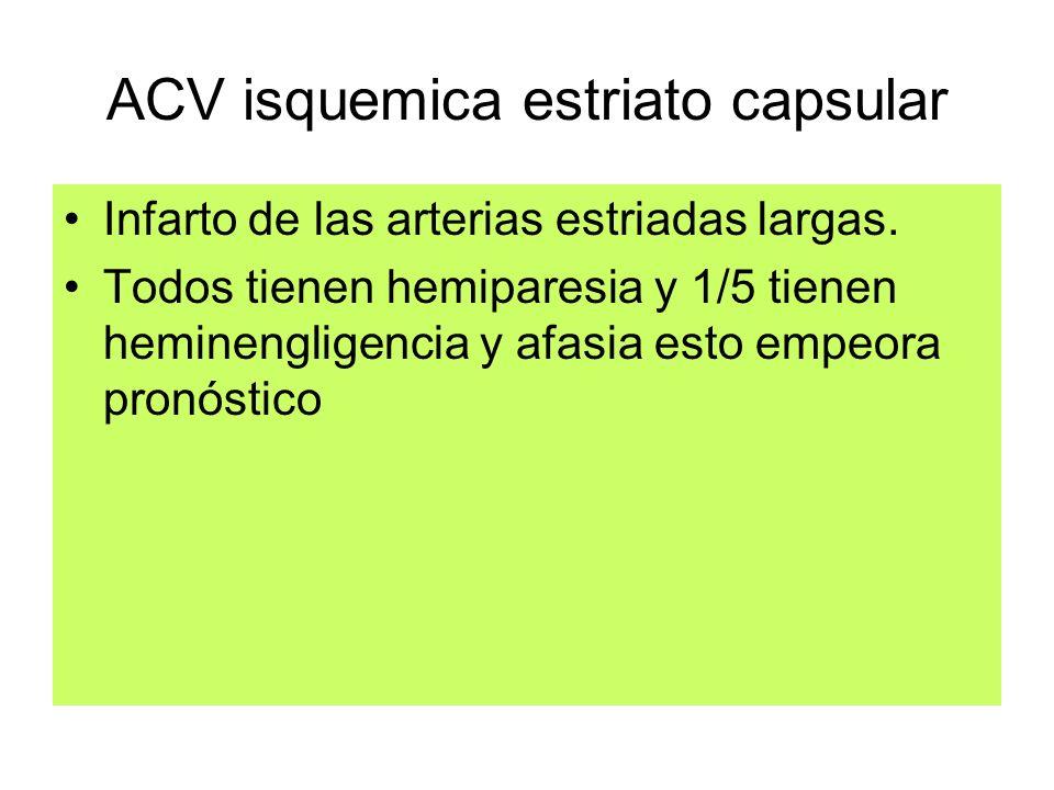 ACV isquemica estriato capsular Infarto de las arterias estriadas largas. Todos tienen hemiparesia y 1/5 tienen heminengligencia y afasia esto empeora
