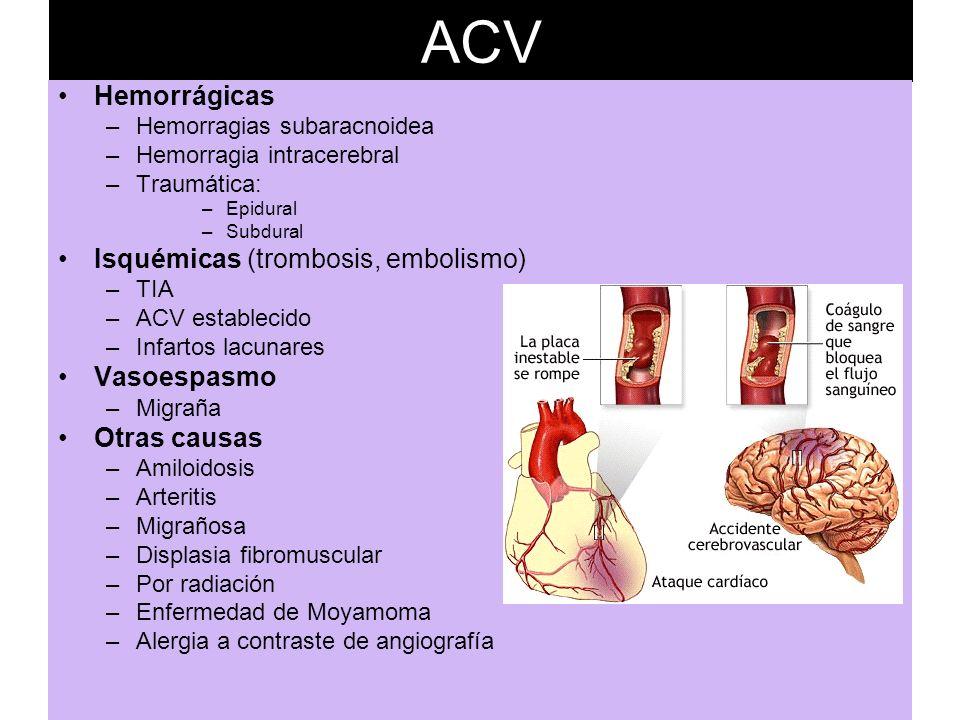 ACV Hemorrágicas –Hemorragias subaracnoidea –Hemorragia intracerebral –Traumática: –Epidural –Subdural Isquémicas (trombosis, embolismo) –TIA –ACV est