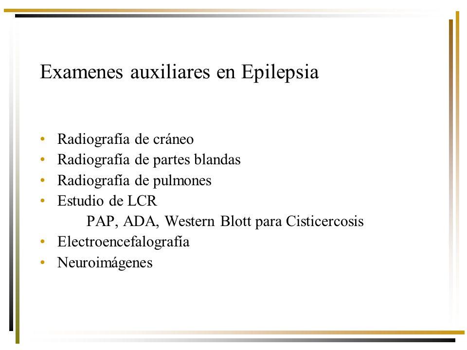 Examenes auxiliares en Epilepsia Radiografía de cráneo Radiografía de partes blandas Radiografía de pulmones Estudio de LCR PAP, ADA, Western Blott para Cisticercosis Electroencefalografía Neuroimágenes