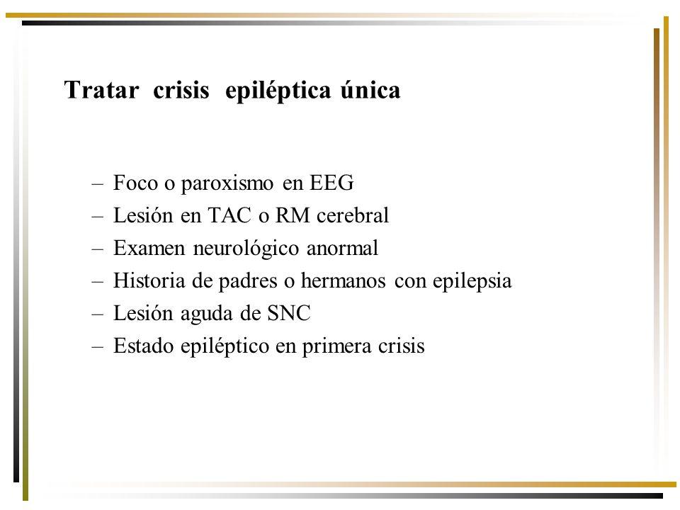 Tratar crisis epiléptica única –Foco o paroxismo en EEG –Lesión en TAC o RM cerebral –Examen neurológico anormal –Historia de padres o hermanos con epilepsia –Lesión aguda de SNC –Estado epiléptico en primera crisis