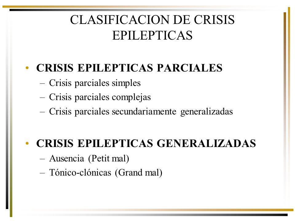 CLASIFICACION DE CRISIS EPILEPTICAS CRISIS EPILEPTICAS PARCIALES –Crisis parciales simples –Crisis parciales complejas –Crisis parciales secundariamente generalizadas CRISIS EPILEPTICAS GENERALIZADAS –Ausencia (Petit mal) –Tónico-clónicas (Grand mal)