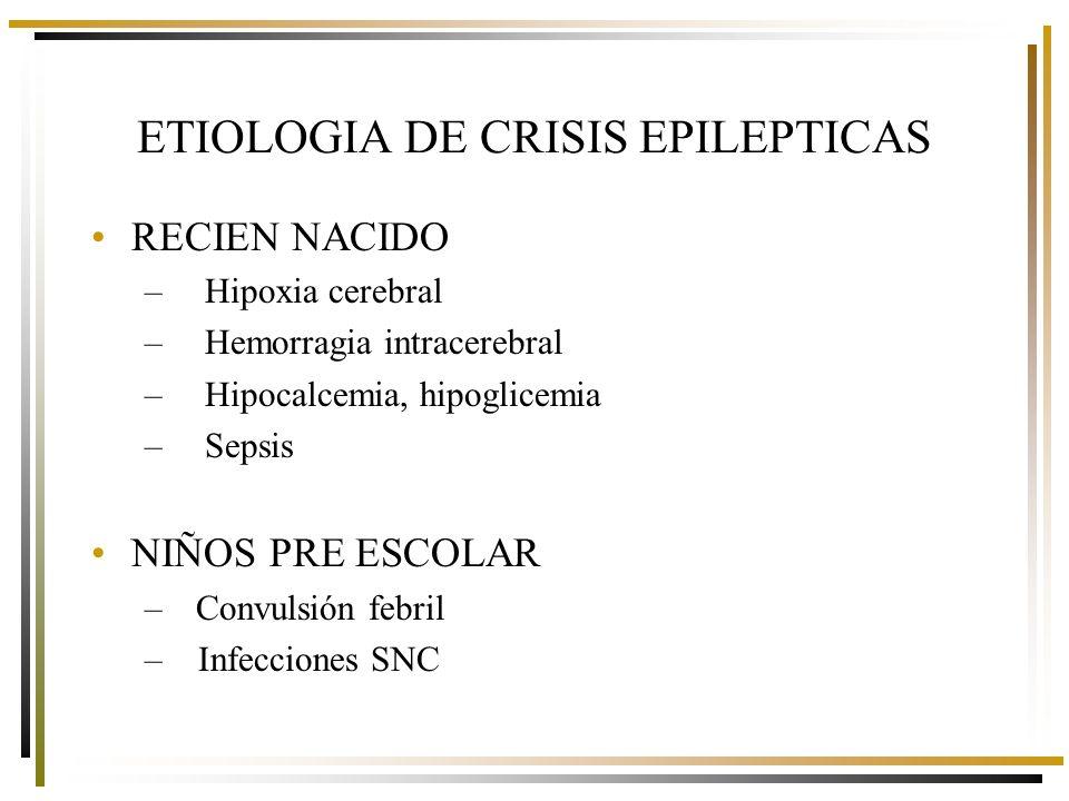 ESCOLAR Y ADOLESCENTE –Epilepsia primaria o idiopática –TEC –Infecciones SNC –Malformaciones SNC ADULTO –Infecciones SNC –Tumores SNC –TEC ETIOLOGIA DE CRISIS EPILEPTICAS