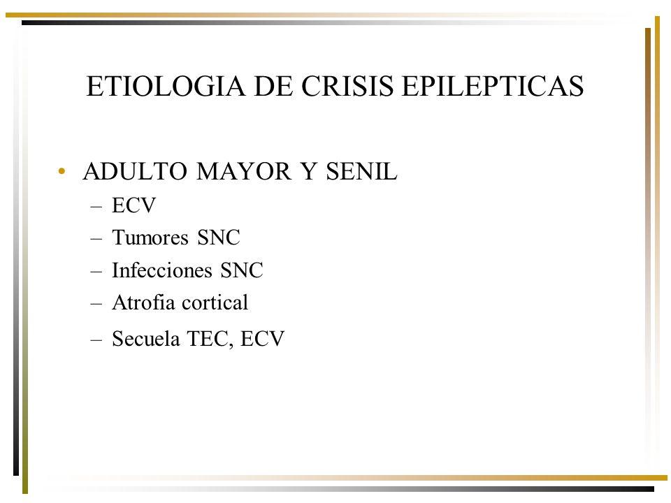 ADULTO MAYOR Y SENIL –ECV –Tumores SNC –Infecciones SNC –Atrofia cortical –Secuela TEC, ECV ETIOLOGIA DE CRISIS EPILEPTICAS