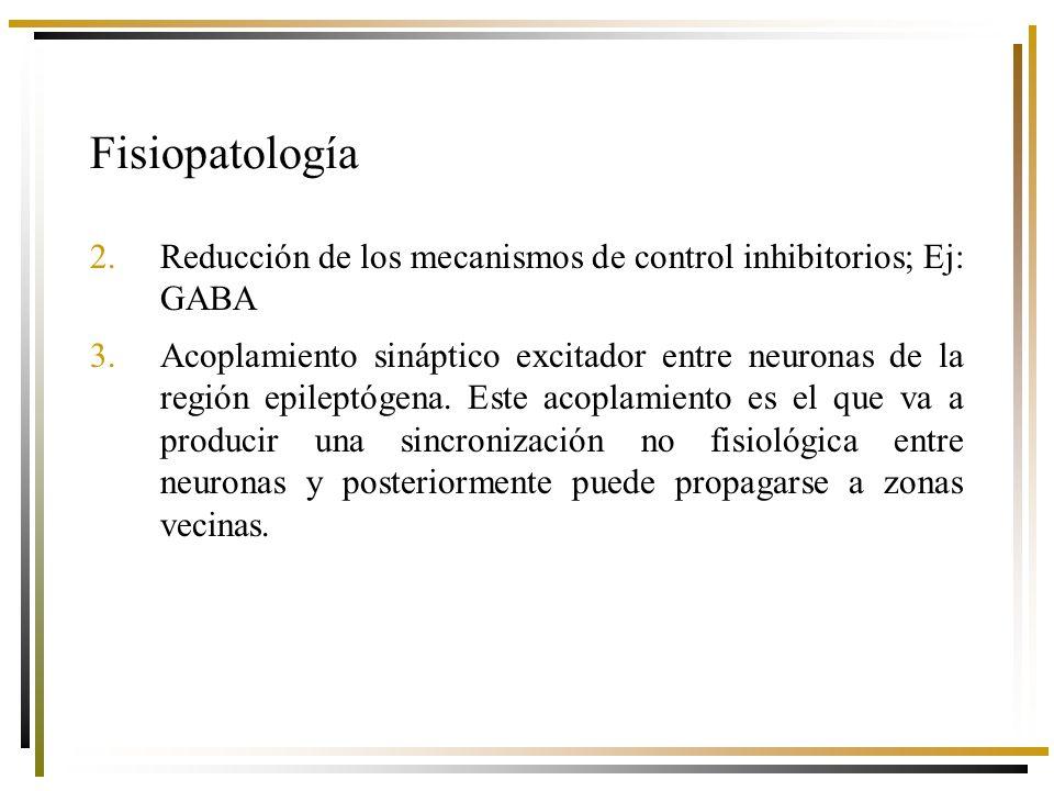 2.Reducción de los mecanismos de control inhibitorios; Ej: GABA 3.Acoplamiento sináptico excitador entre neuronas de la región epileptógena.