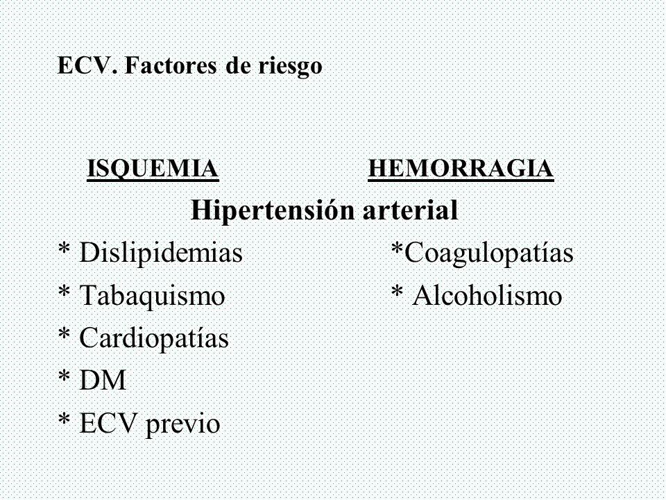 ECV. Factores de riesgo ISQUEMIA HEMORRAGIA Hipertensión arterial * Dislipidemias*Coagulopatías * Tabaquismo* Alcoholismo * Cardiopatías * DM * ECV pr