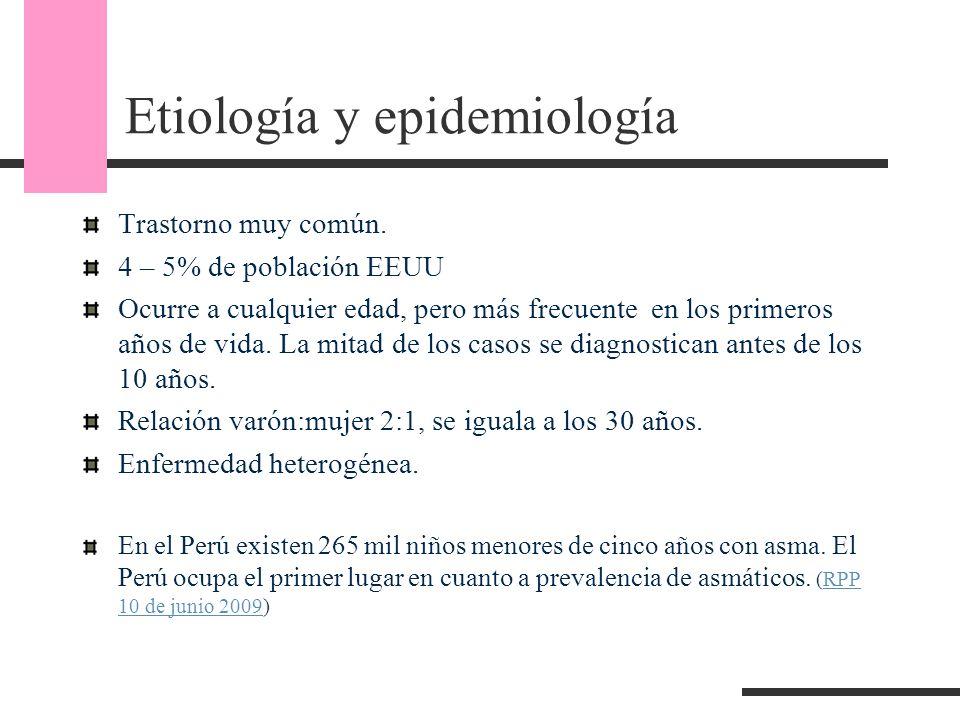 Etiología y epidemiología Trastorno muy común. 4 – 5% de población EEUU Ocurre a cualquier edad, pero más frecuente en los primeros años de vida. La m