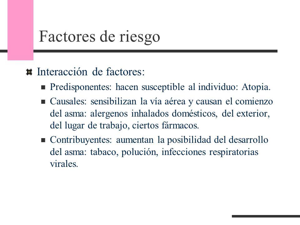 Factores de riesgo Interacción de factores: Predisponentes: hacen susceptible al individuo: Atopia. Causales: sensibilizan la vía aérea y causan el co