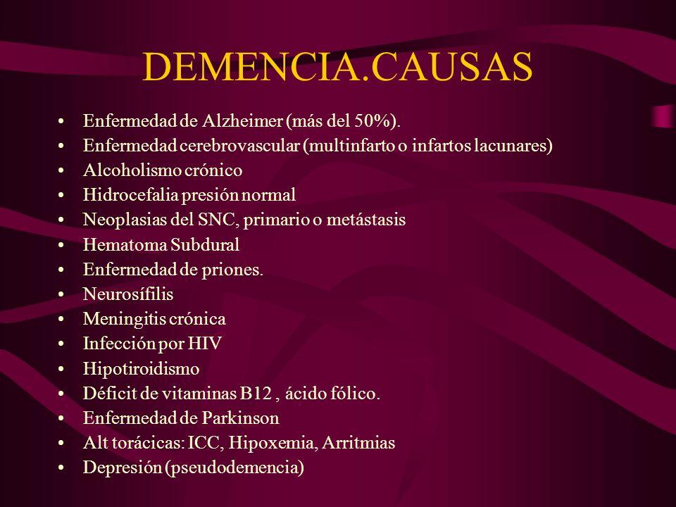 DEMENCIA.CAUSAS Enfermedad de Alzheimer (más del 50%). Enfermedad cerebrovascular (multinfarto o infartos lacunares) Alcoholismo crónico Hidrocefalia