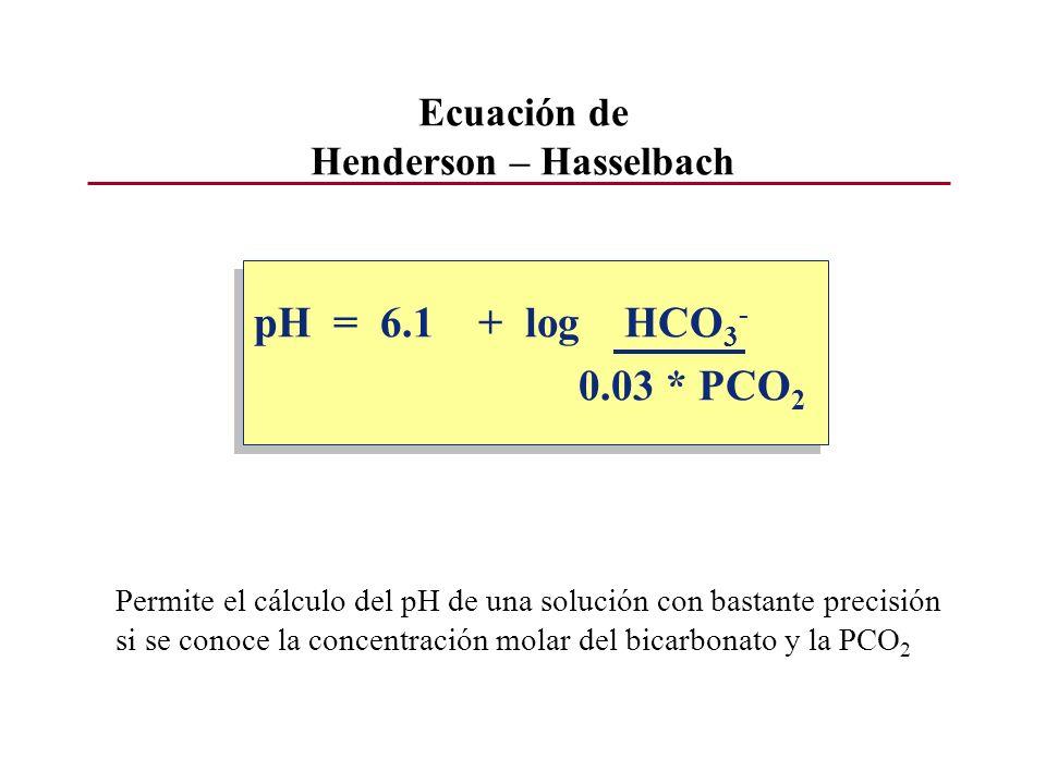 Ecuación de Henderson – Hasselbach pH = 6.1 + log HCO 3 - 0.03 * PCO 2 pH = 6.1 + log HCO 3 - 0.03 * PCO 2 Permite el cálculo del pH de una solución c