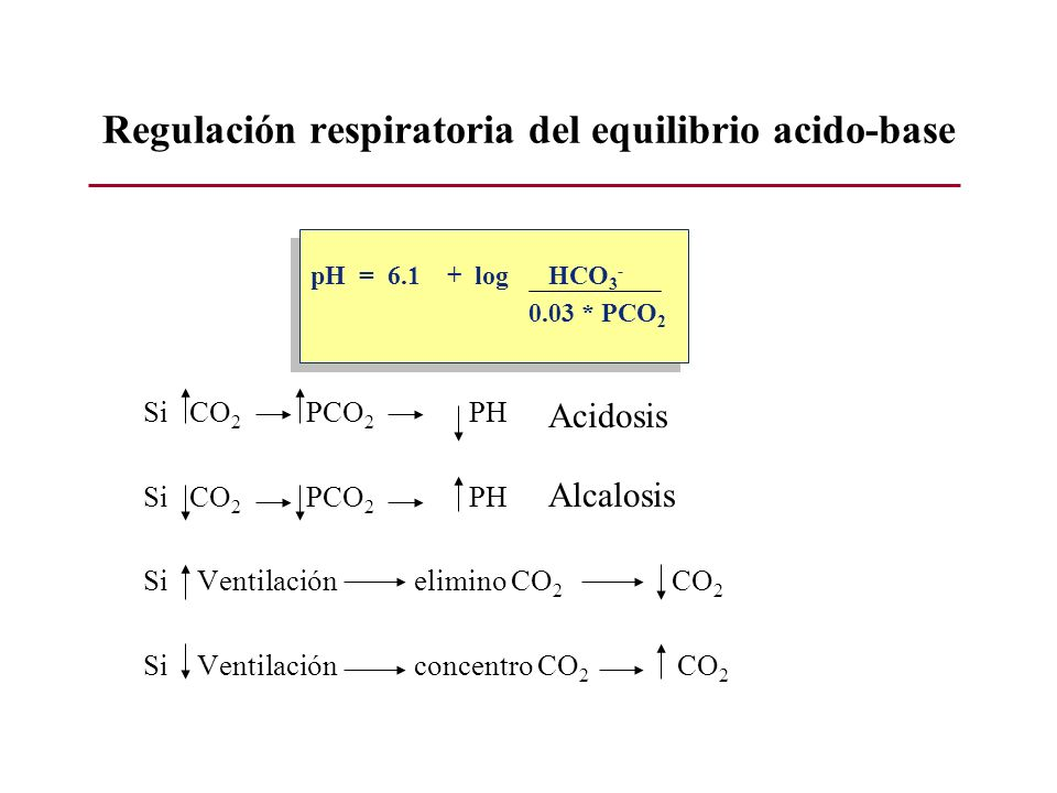 Regulación respiratoria del equilibrio acido-base Si CO 2 PCO 2 PH Si Ventilación elimino CO 2 CO 2 Si Ventilación concentro CO 2 CO 2 pH = 6.1 + log