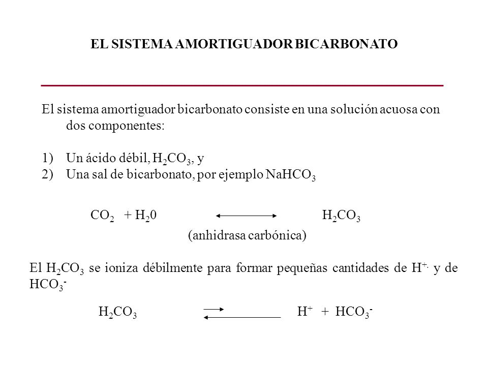EL SISTEMA AMORTIGUADOR BICARBONATO El sistema amortiguador bicarbonato consiste en una solución acuosa con dos componentes: 1)Un ácido débil, H 2 CO
