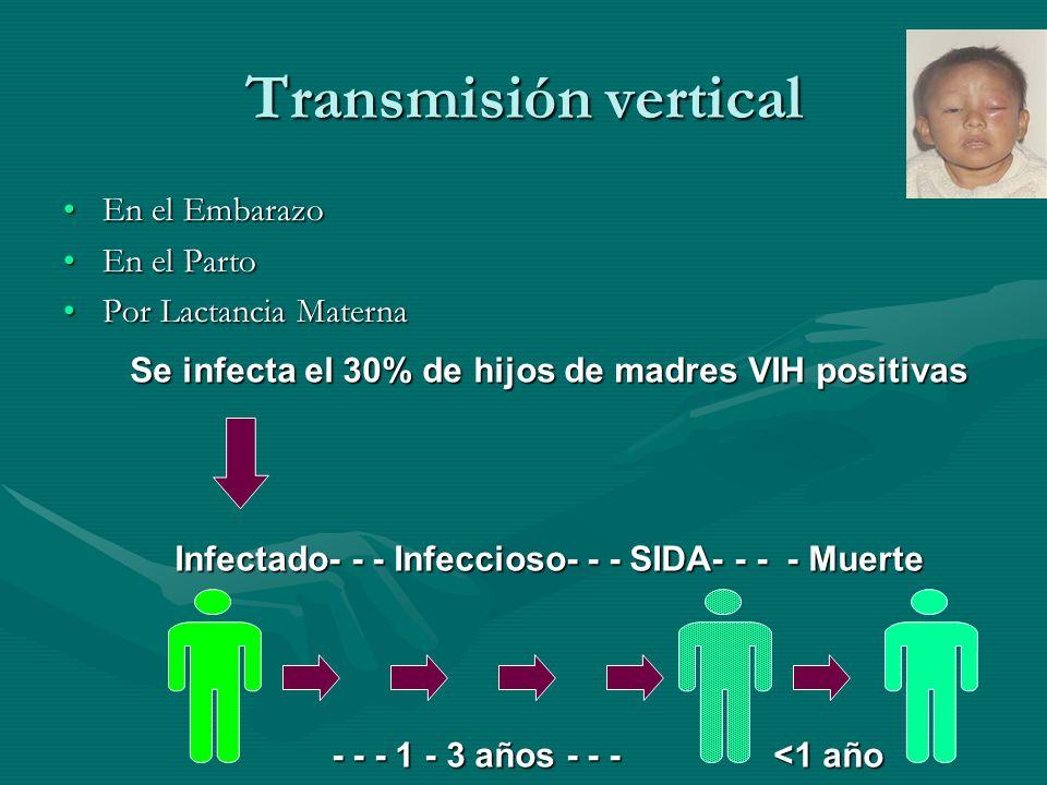 Transmisión vertical En el EmbarazoEn el Embarazo En el PartoEn el Parto Por Lactancia MaternaPor Lactancia Materna Se infecta el 30% de hijos de madr