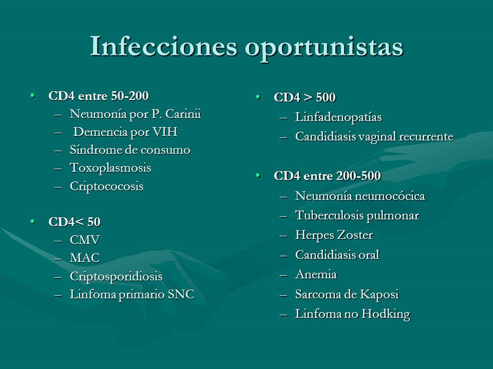Infecciones oportunistas CD4 entre 50-200CD4 entre 50-200 –Neumonía por P. Carinii – Demencia por VIH –Síndrome de consumo –Toxoplasmosis –Criptococos