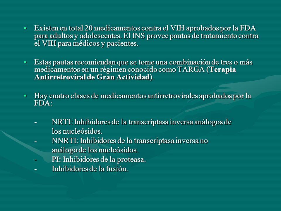 Existen en total 20 medicamentos contra el VIH aprobados por la FDA para adultos y adolescentes. El INS provee pautas de tratamiento contra el VIH par