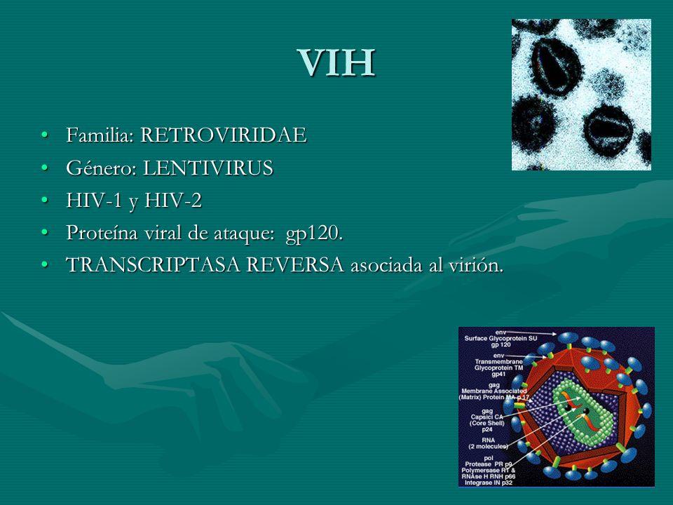 VIH Familia: RETROVIRIDAEFamilia: RETROVIRIDAE Género: LENTIVIRUSGénero: LENTIVIRUS HIV-1 y HIV-2HIV-1 y HIV-2 Proteína viral de ataque: gp120.Proteín